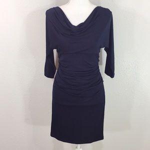 Suzi Chin Navy cowl neck ruching dress